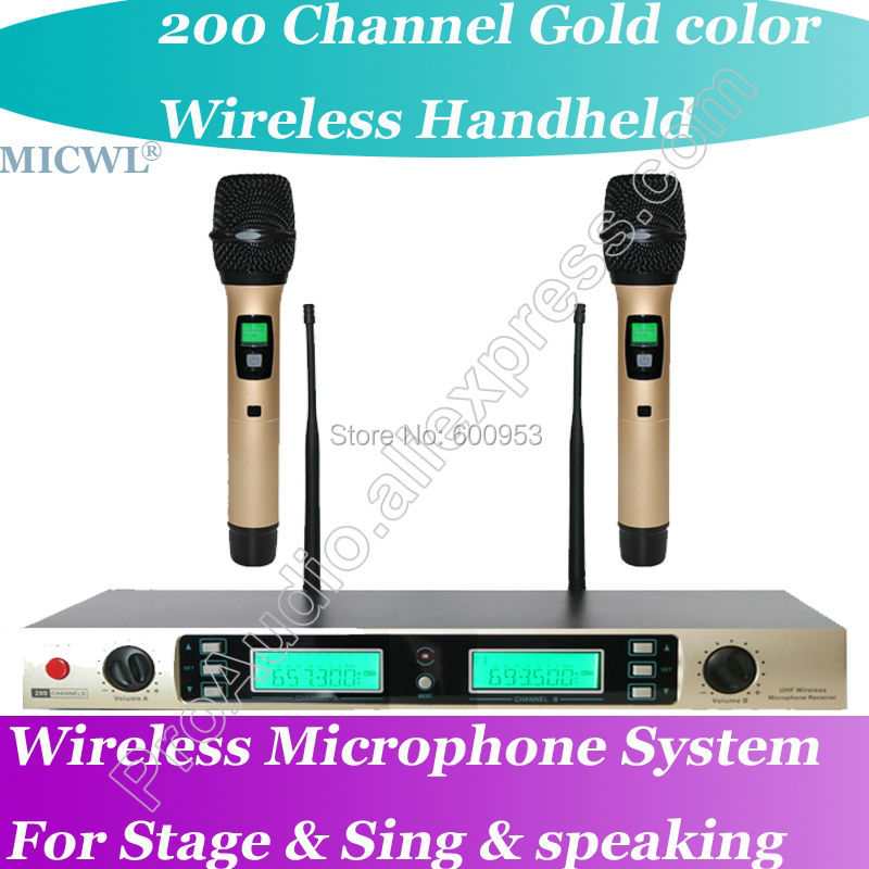 MICWL Gold Color Handheld Wireless DJ Karaoke Microphone Mic System for Stage Sing Speech meeting karaoke boom kb 108ru gold микрофон