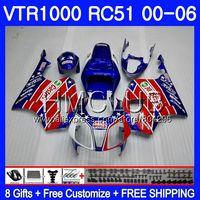 Blue red Fairing For HONDA VTR1000 2000 2001 2002 2003 2004 2005 2006 80HM.5 RTV1000 VTR 1000 RC51 SP1 SP2 01 02 03 04 05 06