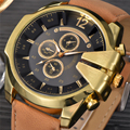 Luxury Brand Watches Men Stylish Golden Crown Large Dial Leather Quartz Watch Casual Sport Clock Male Relogio Masculino