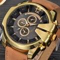 Marca Relojes de lujo Hombres Reloj de Cuarzo de Cuero Elegante de la Corona de Oro Dial Grande Ocasional Deporte Reloj Masculino Del Relogio masculino