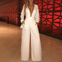 Women Elegant Fashion White Regular Mesh Patchwork Romper Plunge Mesh Insert Wide Leg Party Jumpsuit