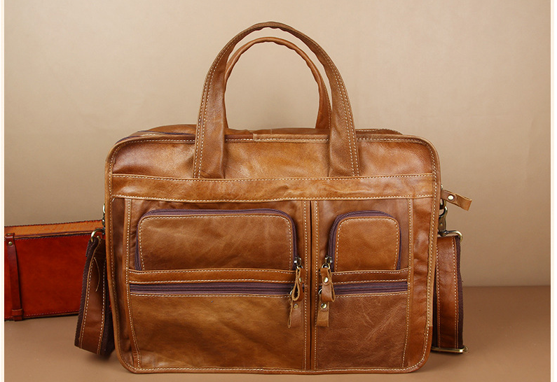 Oil Wax Genuine Leather Men Briefcases Male High Capacity Business Bags Outdoor Travel Multi-Function Cowhide Handbags D834