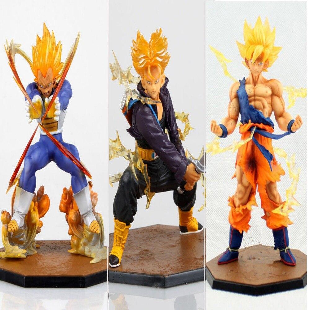 3 pièces/ensemble Dragon Ball Z Super Saiyan Goku Son Gokou + végéta + troncs en boîte PVC figurine modèle Collection enfants de jouet cadeau