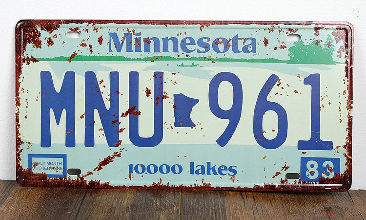 SP-CP-0157 Car License Plates number About  Minnesota MNU-961  Retro Vintage Metal tin signs Wall art craft painting 15x30cm