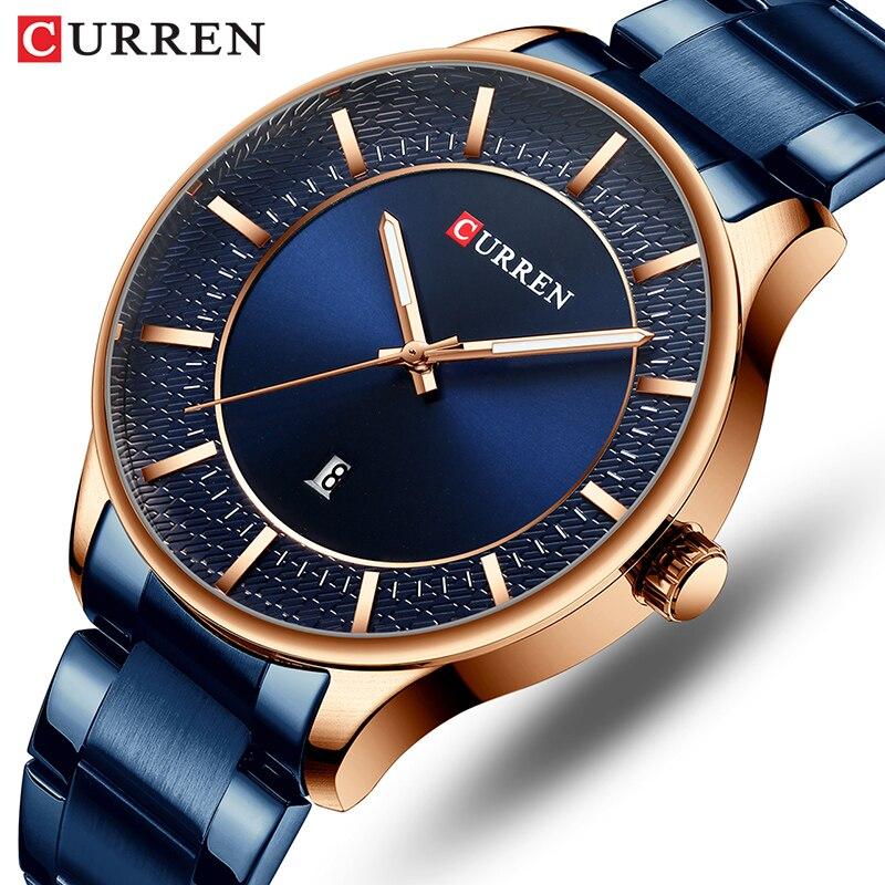 Curren Homens Relógios Top Marca de Luxo Relógio Azul Moda Masculina de Quartzo relógio de Pulso dos homens À Prova D' Água Masculino Relógio Relogio masculino Reloj