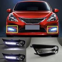 2 шт. белые дневные ходовые огни DRL светодиодный для Nissan Pulsar Новый Tiida 2011 2014 2013