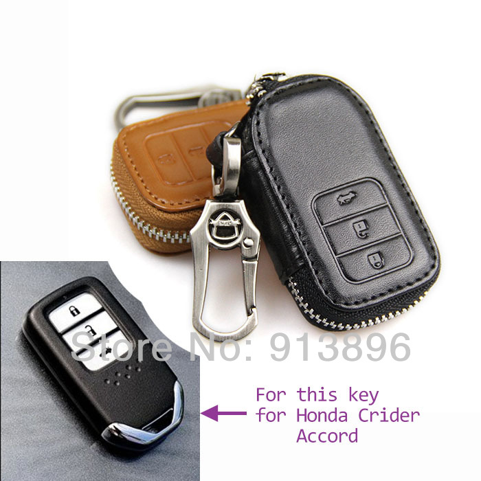 Leather car key case for Honda Crider Accord 2014 smart ...