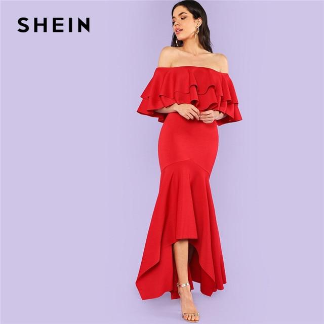 4c72e2f831 SHEIN Burgundy Party Dresses Ruffle Women Maxi Dress Layered Flounce Trim  Asymmetrical Hem Bardot Long Sexy Dress