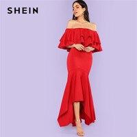 SHEIN Burgundy Party Dresses Ruffle Women Maxi Dress Layered Flounce Trim Asymmetrical Hem Bardot Long Sexy