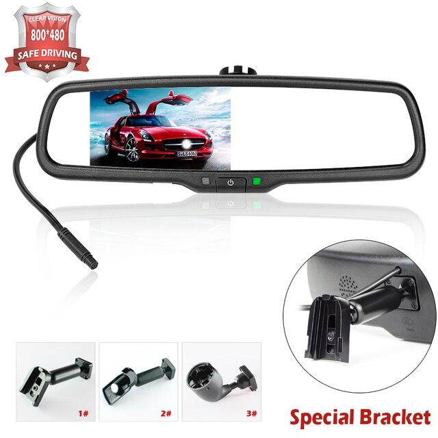 4,3 дюймов HD 800*480 Автомобильный зеркальный монитор заднего вида 2CH видео вход для камеры заднего вида автомобиля помощь при парковке автомобильный видеоплеер
