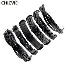 Chicvie черные 6 шт/компл Подвески мужские кожаные браслеты
