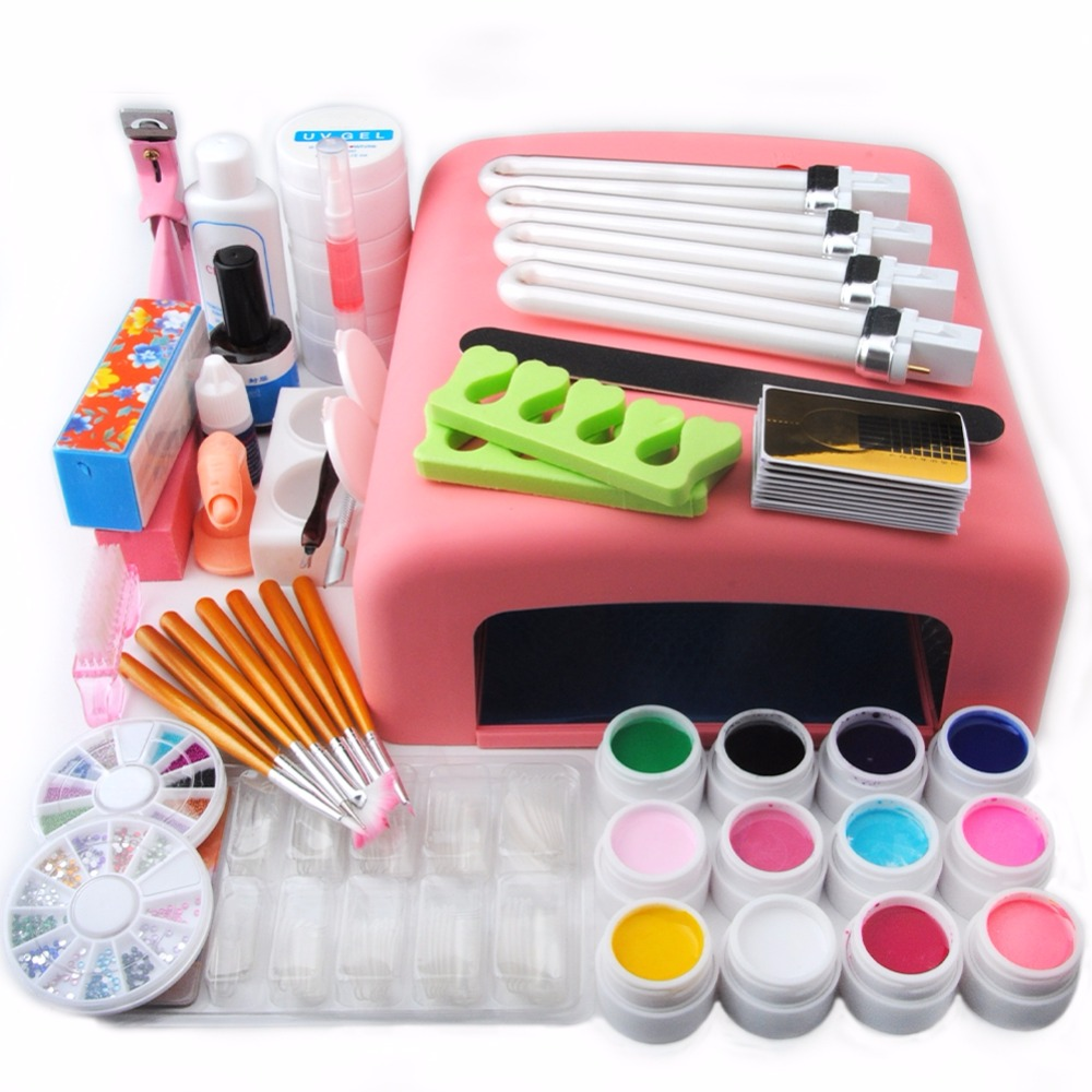 New Pro Nail Gel Set Nail Art Kit 36W UV Lamp Nail Gel