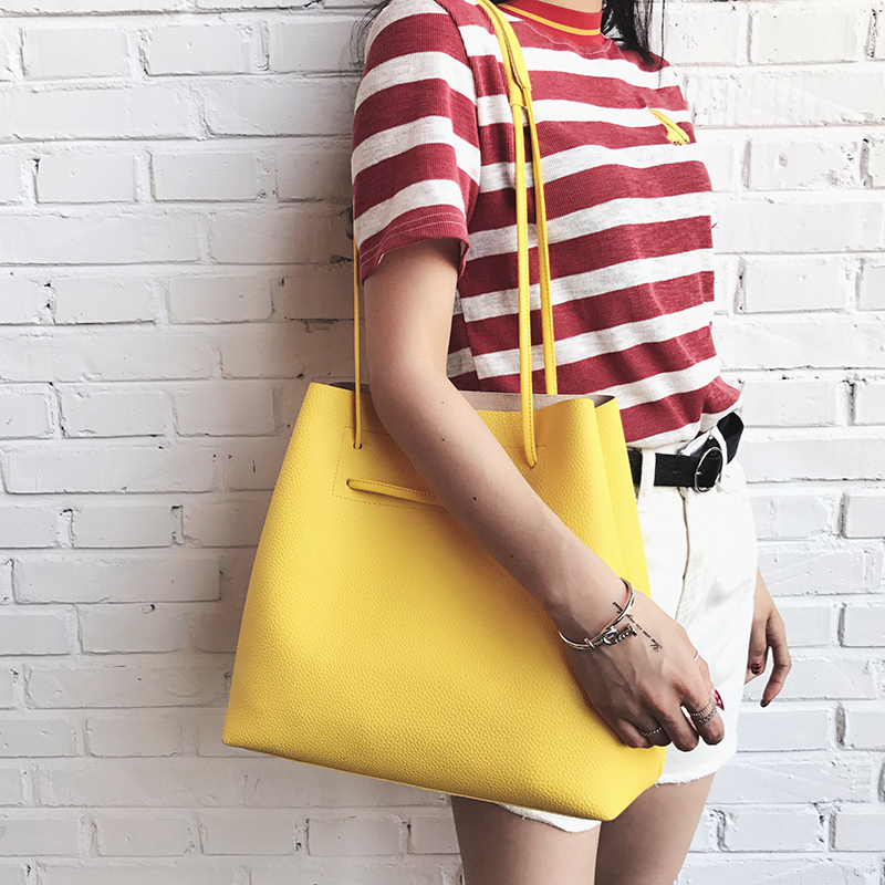 Women Bucket Shoulder Bags Candy Color Large Ladies Hand Bags Design Brand Handbags Female Simple Tote Soft Leather Shopping Bag  цены