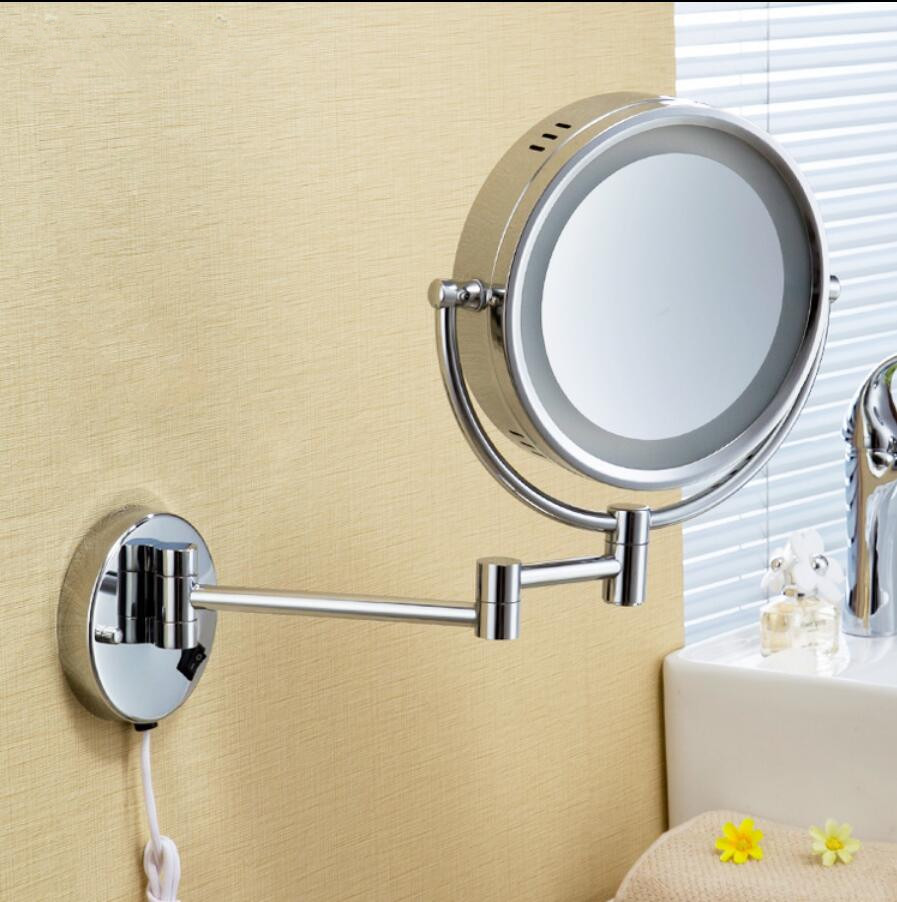 Bath Mirror 8' brass material bathroom dressing LED Mirror double face 1X/3X make-up Magnifying mirror Bathroom accessory