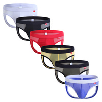 6PCS Sexy Gay Underwear Transparent Back Hollow Out Jockstrap String Homme Slip Sexy Erotic Homens Mens Thongs & G Strings Cueca