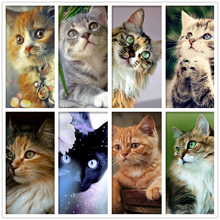 5D DIY Diamond Painting Animal Cats Embroidery Cross Stitch Rhinestone Mosaic Cute cat