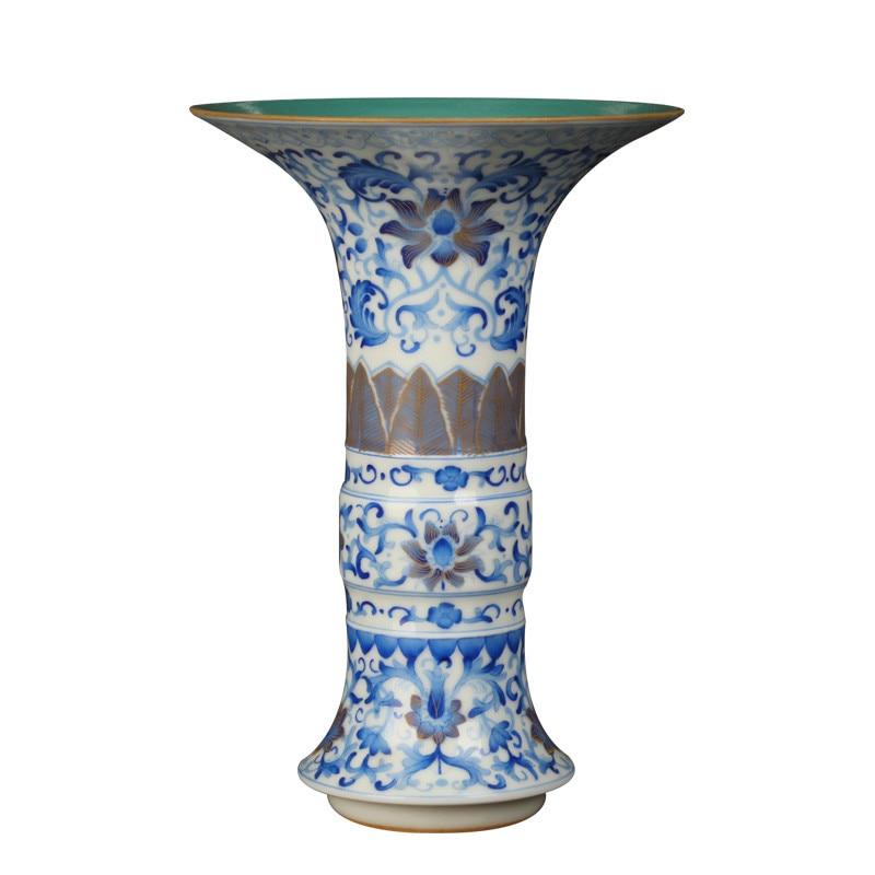 Креативная необычная Классическая античная синяя и белая фарфоровая ваза для домашнего офиса Декор Свадебный подарок