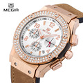 Megir Fashion Waterproof Chronograph Stop Watch for Lover Mens Womens Luxury Leather Band Analog Quartz Wrist Watches Calendar