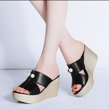2017 Summer shoes Women Slippers High Thick Heel 2017 Women Sandals Suede Platform Ladies Wedges Sandals Flip Flops