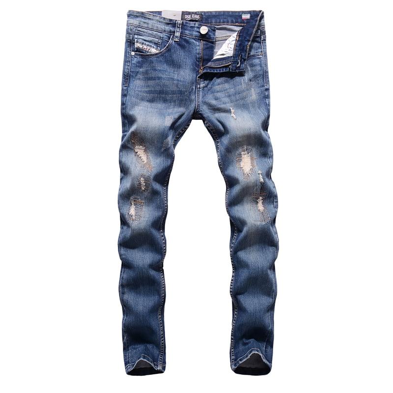 2017 Fashion Stretch Slim Fit Blue Patch Jeans Ripped Denim Jeans Men Pants Hot Sale Dsel Brand Men`s Jeans Elastic E701 fashion blue stretch jeans ripped denim trousers slim skinny new famous brand dsel patch jeans elastic mens biker jeans u701