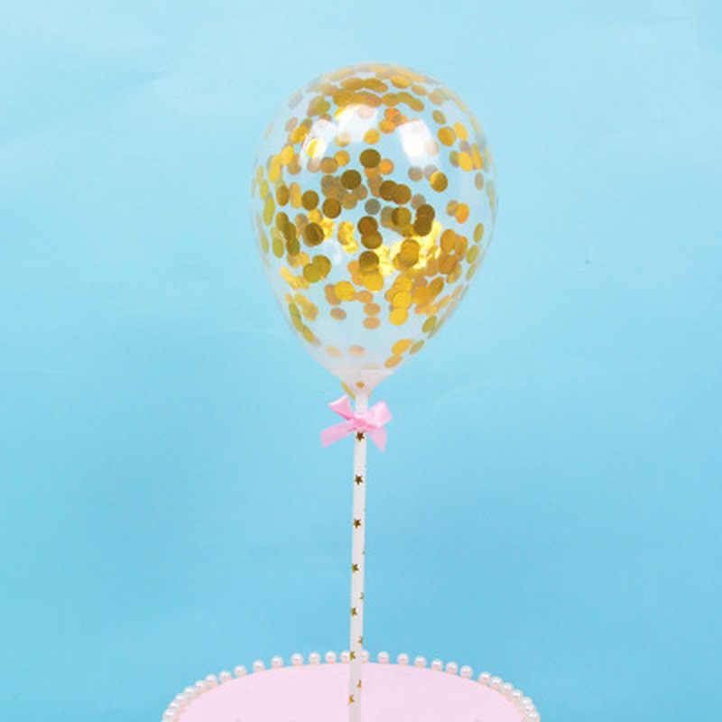 1 шт. торт Топпер Конфетти украшения воздушный шар в горошек с бумажной соломенной лентой стол день рождения шары для свадебной вечеринки