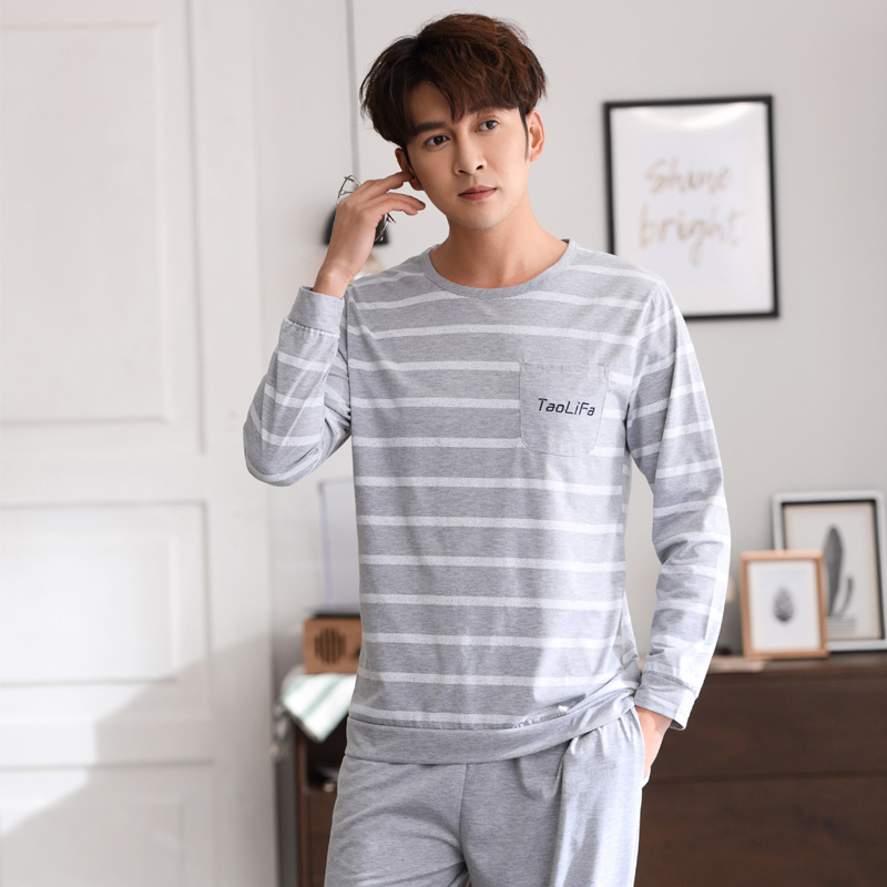 High Quality 2019 Spring Men Pajamas Long Sleeve Male Sleep Wear Set Cotton Nightwear For Man Sleepwear Suit Homewear
