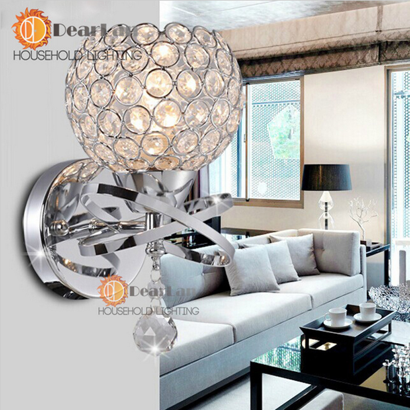 cheap Modern Style Bedside Wall Lamp Bedroom Stair Lamp Crystal Wall Lights E27 LED Wall Lights Silver/Gold Led Lamp For Bedroom Decor pic,image LED lamps deals