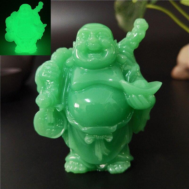 Świecące chińskich pieniędzy Laughing Buddha statua rzeźby stworzone przez człowieka Jade kamień do dekoracji domu Maitreya budda figurki statuetki