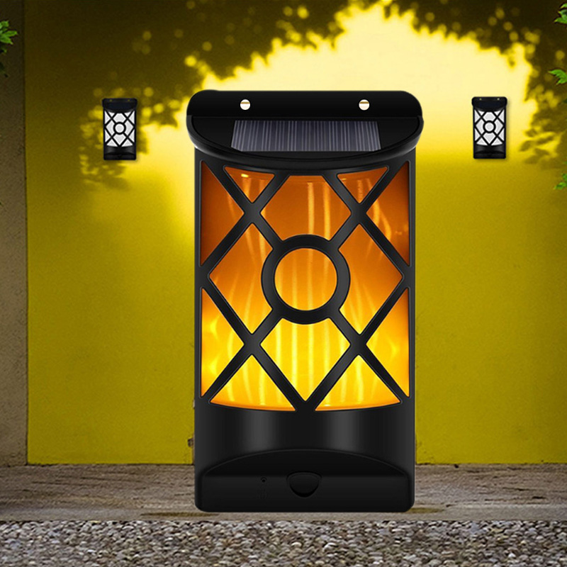 IP65 Solar Fire Light Flame Effect Wall Lamp Torch Light LED Decoration 2835SMD Light-Controlled Home Outdoor Creative Lighting