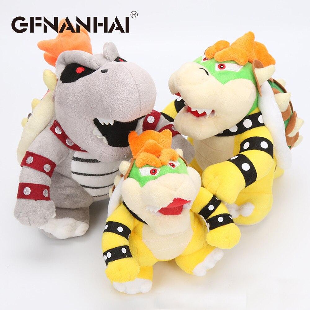 1pc 17-24cm Stand Super Mario Bros Bowser Koopa Bones Fire Dragon Cooper Plush Toy Stuffed Animal Dolls Toy Great Gift