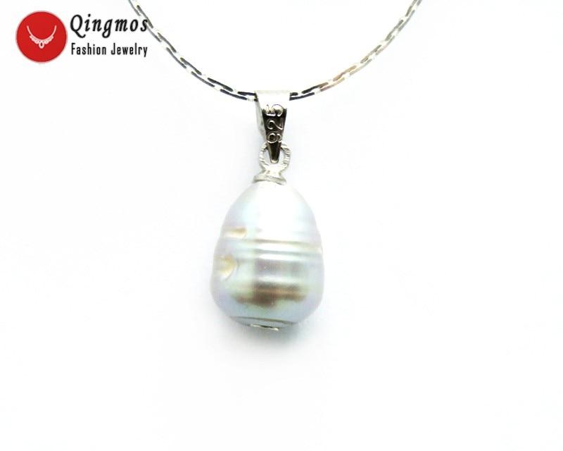"""Colgante de perlas de agua dulce natural de arroz gris grande de 10-11 mm y collar de cadena de 16 """"chapado en plata-nec6347"""