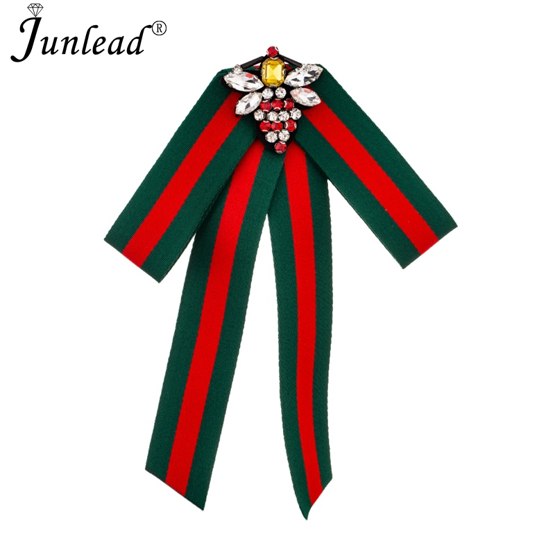 Junlead New Luxury Crystal Baroque Fabric Bowknot Pins Handmade Large Beads Bee Bow Tie Women Brooch Corsage Dress Shirt Jewelry