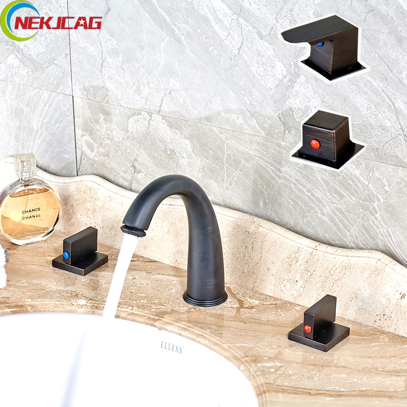Oil Rubbed Bronze Basin Sink Faucet Dual Handle 3 Hole Mixer Tap Hot and Cold Water Widespread Bathroom Faucet oil rubbed bronze basin sink faucet dual handle 3 hole mixer tap hot and cold water widespread bathroom faucet