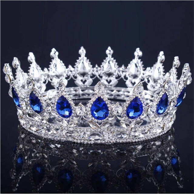 Vintage Baroque Queen King Bride Tiara Crown For Women Headdress Prom Bridal Wedding Tiaras and Crowns Hair Jewelry Accessories 3