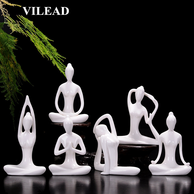 VILEAD 12 Styles White Ceramic Yoga Figurines Ename Yoga Miniatures Abstract Yog Stattues Yoj Figurines Vintage Home Decor 1