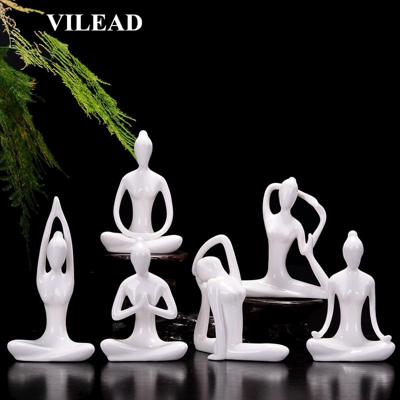 VILEAD 12 Styles White Ceramic Yoga Figurines Ename Yoga Miniatures Abstract Yog Stattues Yoj Figurines Vintage Home Decor(China)