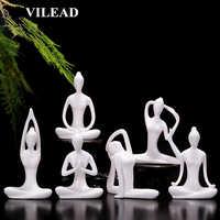 VILEAD 12 Styles blanc en céramique Yoga Figurines Ename Yoga Miniatures abstrait Yog Stattues Yoj Figurines Vintage décor à la maison