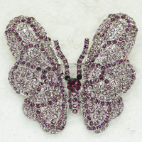 Rhodium Plated Brooch Purple Rhinestone Butterfly Pin brooches C995 D