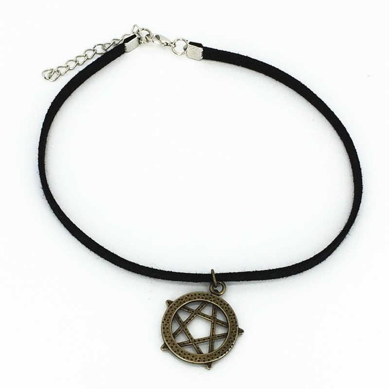 2019 moda quente torques círculo geométrico pentagrama pingentes colares preto veludo gargantilhas de couro colares para jóias femininas