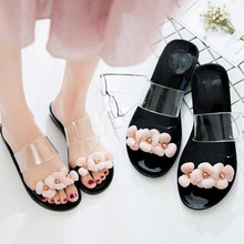 Women s Jelly Shoes Beach Hot Sandals Slippers Flip Flops Flat Plastic  Flowers Band Casual Bohemian Shoes 5d66af49399c