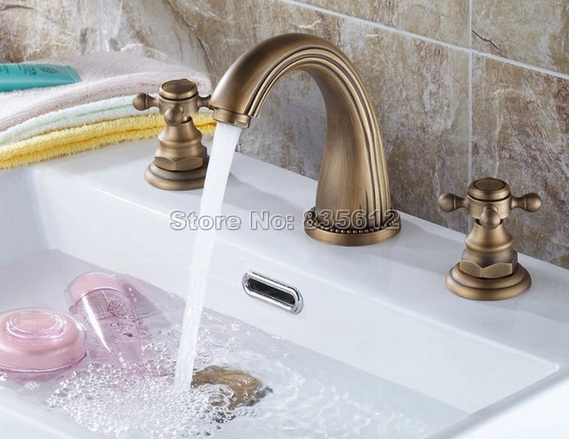 Bathroom Basin Sink 3 Hole Antique Brass Gooseneck Faucet / Dual Cross Handles Deck Mounted Vessel Sink Mixer Taps Wnf009 antique brass swivel spout dual cross handles kitchen