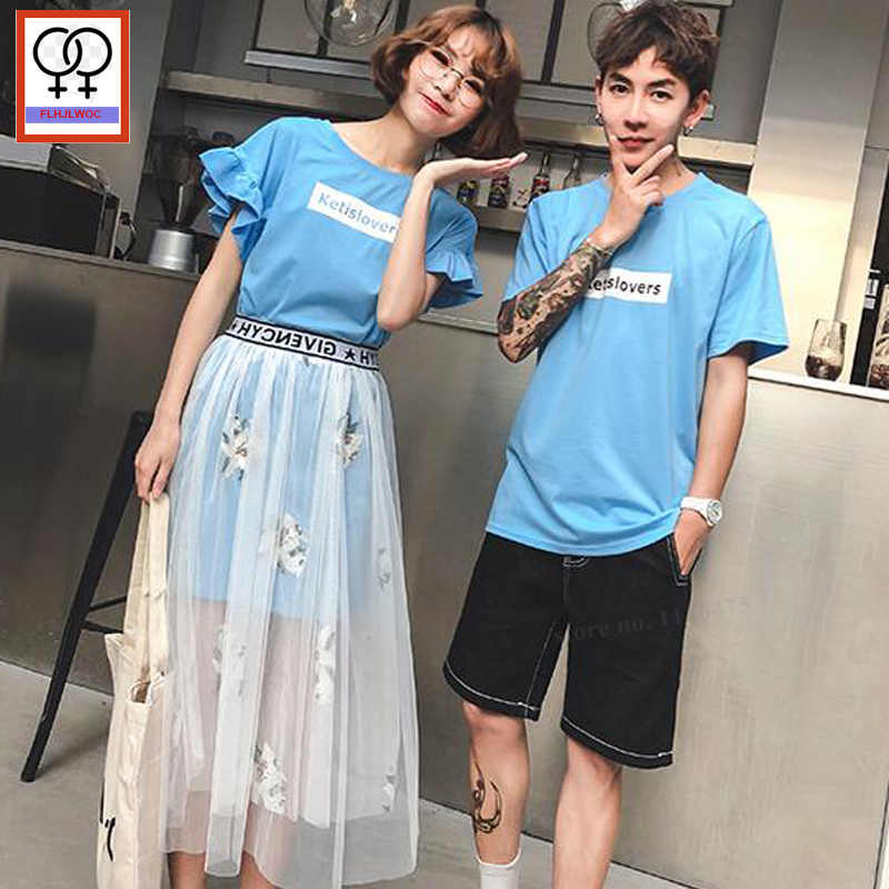 92b46284c0fc Couple Clothes For Her and Him Lovers Honeymoon Cute Girls Two Piece Long  Tops And Skirts