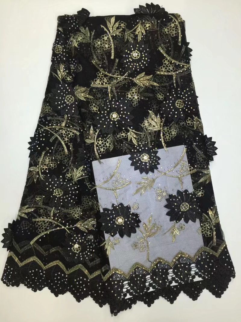 New Black African 3d Flower Pattern Lace Fabric Charming Tissu Material Lovely Flower French Tulle Lace For Woman Party Dress