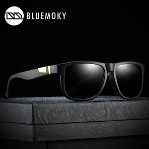 Image 3 - BLUEMOKY مربع أسود نظارات شمسية للرجال UV400 الاستقطاب العلامة التجارية مصمم النظارات الشمسية الرجال القيادة بولارويد ظلال للرجال 2019