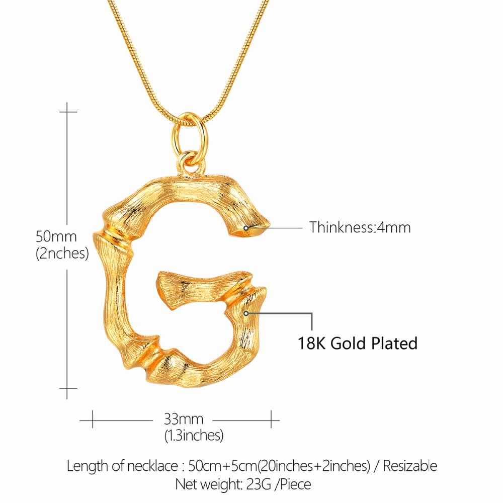 Bamboo Initial G Letter Necklace Snake Chain Gold Alphabet Jewelry Chunky Big Statement Letter Charm Personalized Gift P9080