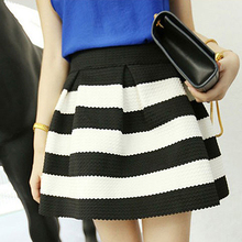 Fashion Women Girl High Waist Rivet Stripes A-Line Casual Mini Skater Skirt New Arrival