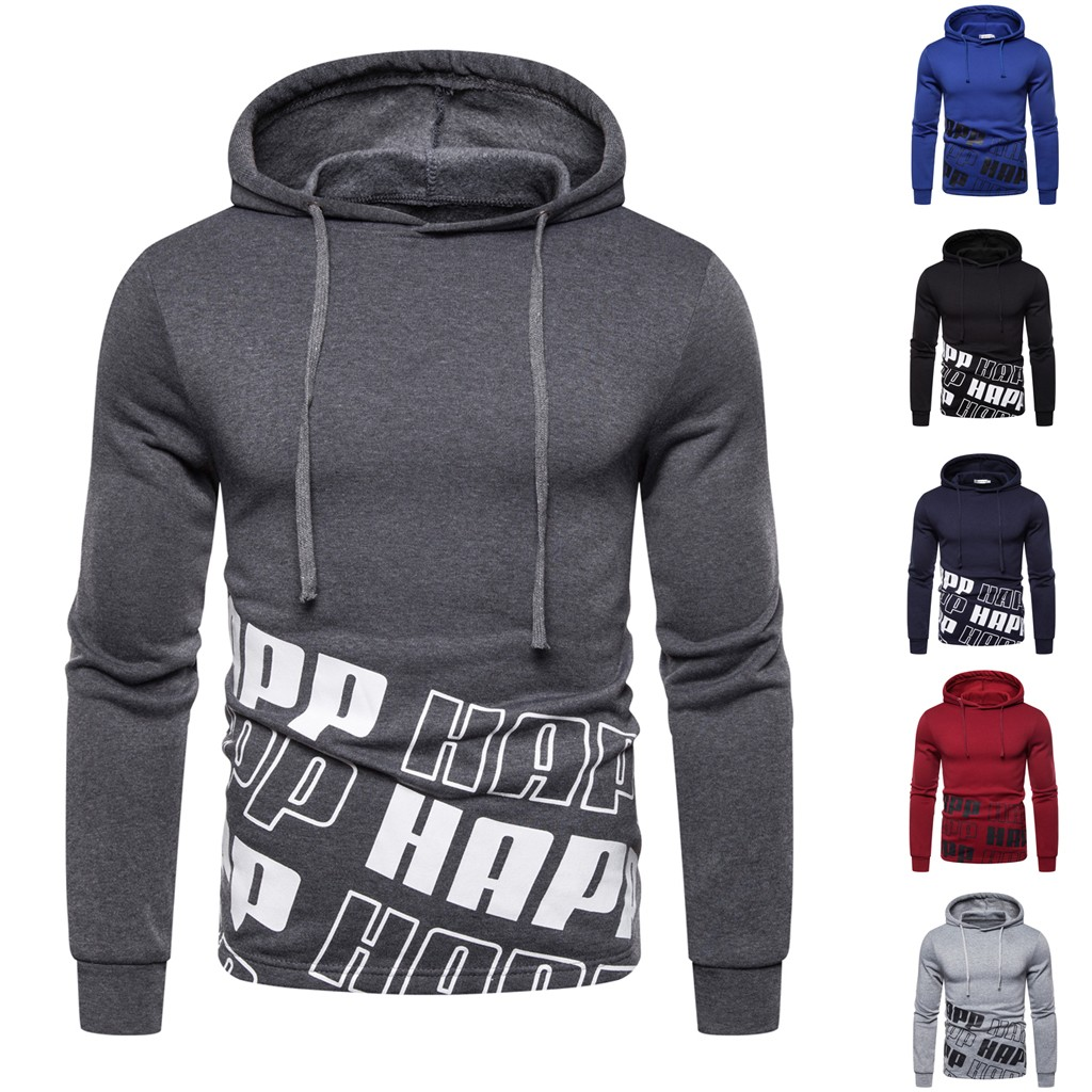 Hoodie Men Autum Winter Long Sleeve Hooded Sweatshirt Letter Printed Outwear Hoodies Tops Blouse Male Clothes High Quality