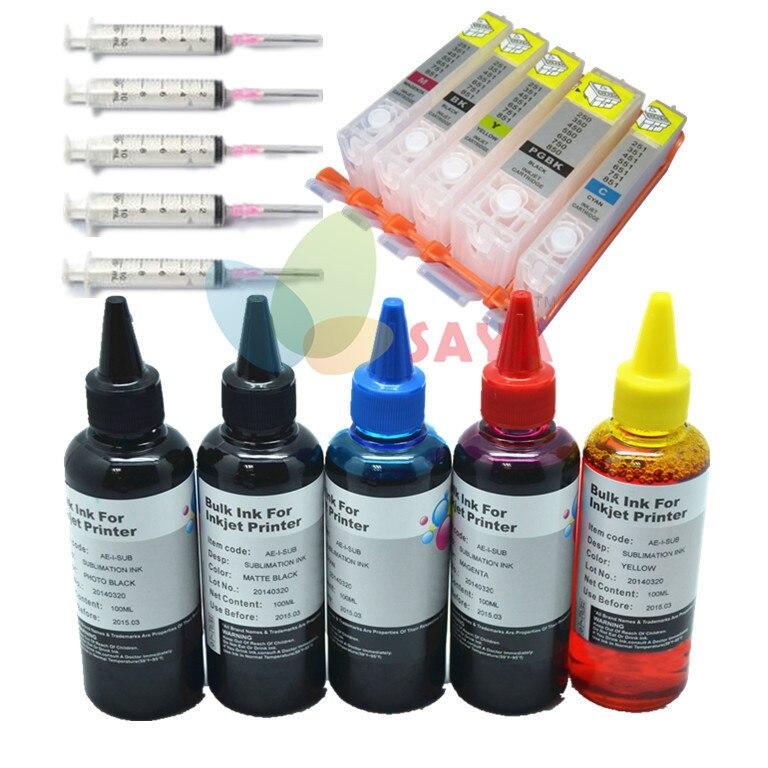 Pgi-550bk kit di ricarica di inchiostro pieno per canon pixma ip7250 mg5450 mg5550 mx925 mx725 ix6850 mg5650 mg6650, cartuccia e 500 ml inchiostro dye