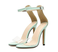 2018 Ladies Shinning Leather Cover Heels Gladiator Sandals PVC Transparent Women Heels Lady Thin High Heels Green Sandals