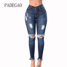 Ripped Hole Large Plus Size Mujer Push Up Jeans Womens Boyfriends For Women Woman Denim Skinny Capris Pant Femme Feminino Female